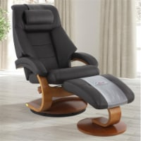Relax-R MONTREAL058040PL Montreal Recliner & Ottoman with Pillow, Espresso Brown