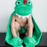 ZOOCCHINI Kids Plush Terry Hooded Bath Towel - Devin the Dinosaur - One Size
