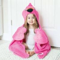 ZOOCCHINI Kids Plush Terry Hooded Bath Towel - Franny the Flamingo - One Size