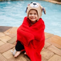 ZOOCCHINI Kids Plush Terry Hooded Bath Towel - Pedro the Pirate Dog - One Size