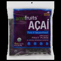 Amafruits Acai Pure & Unsweetened Organic Fruit Puree - 4 ct / 3.5 oz
