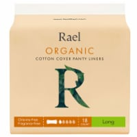 Rael Organic Long Cotton Cover Panty Liners 18 Count