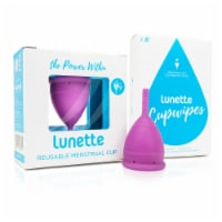 Lunette Menstrual Cup Violet Model 1 with BONUS FREE Cup Wipes - Cup: Mod1 Wipes: 10 CT