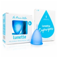 Lunette Menstrual Cup Blue Model 2 with BONUS FREE Cup Wipes - Cup: Mod2 Wipes: 10 CT