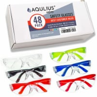48 Pack of Safety Glasses (48 Protective Goggles in 6 Colors) Crystal Clear Eye Protection - 48pk