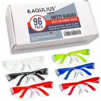 96 Pack of Safety Glasses (96 Protective Goggles in 6 Colors) Crystal Clear Eye Protection - 96pk