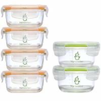 Sage Spoonfuls Tough Glass Combo Borosilicate Glass Baby Food Storage Set - 6-Pack - 6-Pack Glass Jar Combo