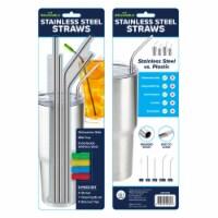 Hitt Brands Stainless Steel Straws, Silver