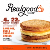 Realgood Sausage Egg & Cheese Breakfast Sandwich 4 Count