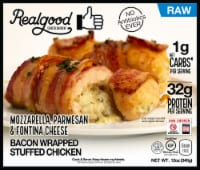 Realgood Raw Bacon Wrapped Stuffed Chicken Three Cheese