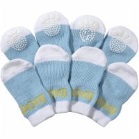 Pet Life F22BWMDLG Blue and White Dog Socks with Rubberized Soles - LG - 1
