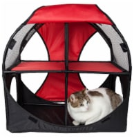 Pet Life PTT7RDBK Kitty Play Pet Cat House, Red & Black - One Size