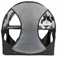 Pet Life PTT7GYBK Kitty Play Pet Cat House, Grey & Black - One Size