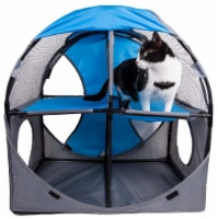 Pet Life PTT7BLGY Kitty Play Pet Cat House, Blue & Grey - One Size - 1