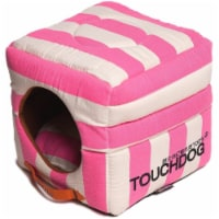 Pet Life PB36PKLG Touchdog Polo-Striped Convertible Reversible Squared Dog House Bed, Pink - 1