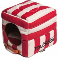 Pet Life PB36RDLG Touchdog Polo-Striped Convertible and Reversible Squared Dog House Bed, Red - 1
