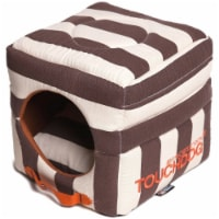 Pet Life PB36BRLG Touchdog Polo-Striped Convertible and Reversible Squared Dog House Bed - 1