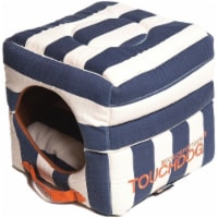 Pet Life PB36BLLG Touchdog Polo-Striped Convertible and Reversible Squared Dog House Bed - 1