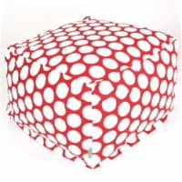 Majestic Home Red Hot Large Polka Dot Large Ottoman - 1