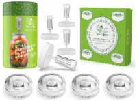 Fermentation Kit - Includes 4 NonSlip Grip Fermentation Weights & 4 Clear Fermenting Lids - 1