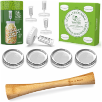Complete Fermenting Kit - 4 White Fermentation Lids, 4 Weights, 1 Cabbage Tamper