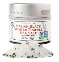 Gustus Vitae  Gourmet Salt in Magnetic Tin   Italian Black Truffle Sea Salt