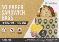 Lunchskins Compostable + Unbleached Paper Sandwich Bags - Avocado Print