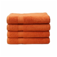 4 PIECE LUXURY LARGE SIZE BATH TOWEL SET FOR HOME HOTEL SPAS GUEST by Hurbane Home, Orange