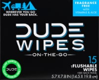 DUDE Wipes Flushable Wipe Travel Packets - 15 ct