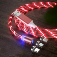 3-in-1 LED Light Up Charger Charging Cable USB Cord For 8 Pin, USB C, or Micro USB (Red) - 1