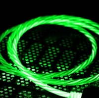 Micro USB Cable Flowing LED Light Data Sync Charging Cord Universal Micro USB (Green) - 1