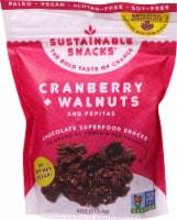 Sustainable Snacks  Chocolate Superfood Snacks   Cranberry Walnuts and Pepitas - 4 oz