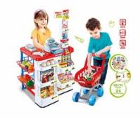 Supermarket Play Set w Shopping Cart, Cash Register, Scanner, and more - 24 Pcs