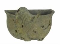 Grey Stone Finish Carved Rhinoceros Head Hanging Planter - Small