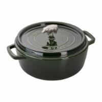 Staub Cast Iron 6-qt Cochon Shallow Wide Round Cocotte - Basil