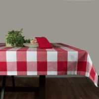 Dunroven House RK820-BR 60 x 84 in. Farmhouse Check Tablecloth, Bright Red & White - 1