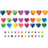 Watercolor Hearts Accents, Pack of 48 - 1