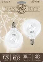 Oak & Rye 25-Watt G50 Light Bulbs 2 Pack - Clear