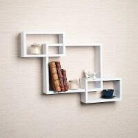 Saltoro Sherpi Intersecting Rectangle Shape Wooden Floating Wall Shelf, White