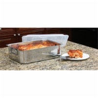 Cook Pro 4 PC Stainless Steel Roaster & Lasagna Pan with Plastic Cover All-in-One