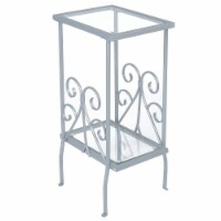 Monarch Metal Glass Top Square Accent Table in Silver - 1