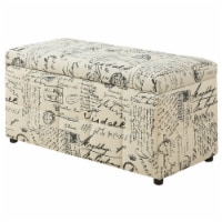 Monarch Specialties I 8986 38 in. Ottoman Fabric Storage - Vintage French