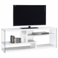 Tv Stand - 60 L / Glossy White With Tempered Glass - 1