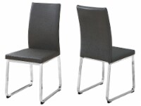 Dining Chair - 2Pcs / 38 H / Grey Leather-Look / Chrome - 1