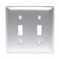 Hubbell Wiring Device-Kellems Toggle Switch Wall Plate,2 Gang,Silver HAWA SA2