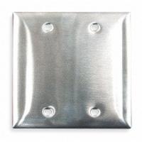 Hubbell Wiring Device-Kellems Blank Box Mount Wall Plate,2 Gang,Silver HAWA SS23