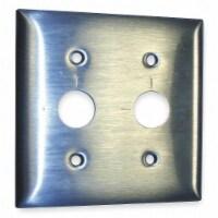 Hubbell Wiring Device-Kellems Barrel Key Wall Plate,2 Gang,Silver HAWA SS22RKLM