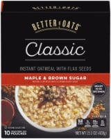 Better Oats Classic Maple & Brown Sugar Instant Oatmeal 10 Count