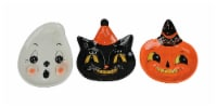 Johanna Parker Design Dolomite Set of 3 Halloween Snack Plates Cat Ghost Pumpkin - One Size