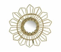 Natural Willow Wicker Framed Geometric Design Wall Mirror 17 Inch Diameter - One Size